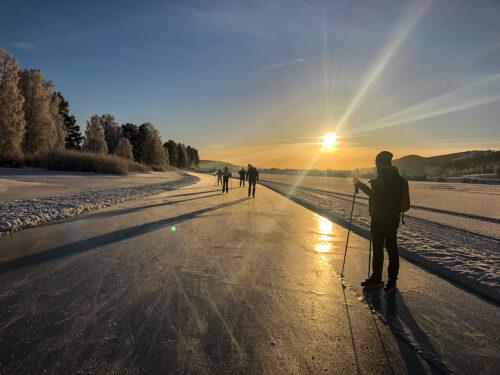 Skridskotur på isleden i Järvsö